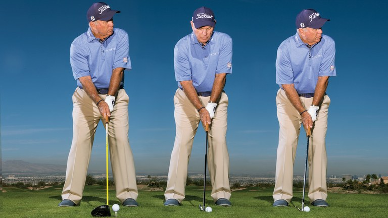 Photo of the 3 widths of a golf stance: Wide, Standard, & Narrow