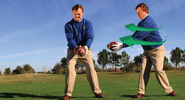 A photo showing the athletic traits a golf stance shares with football