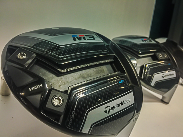 Image of the Howard's Golf Demo TaylorMade M3 Driver heads and the Y-Track Weights