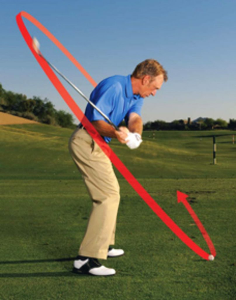 Golf Digest Image of a golfers swing plane with an arrow simulating the path of the golf club.