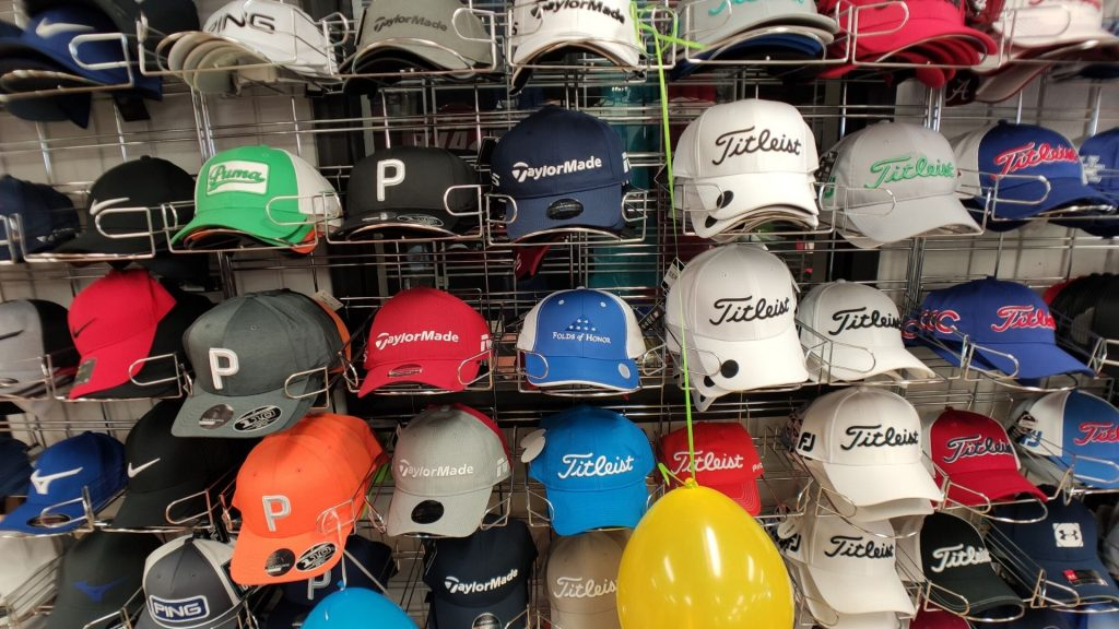 Wall of Golf Hats from Howard's Golf