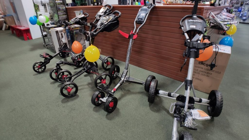 Golf Push Carts by the putting green